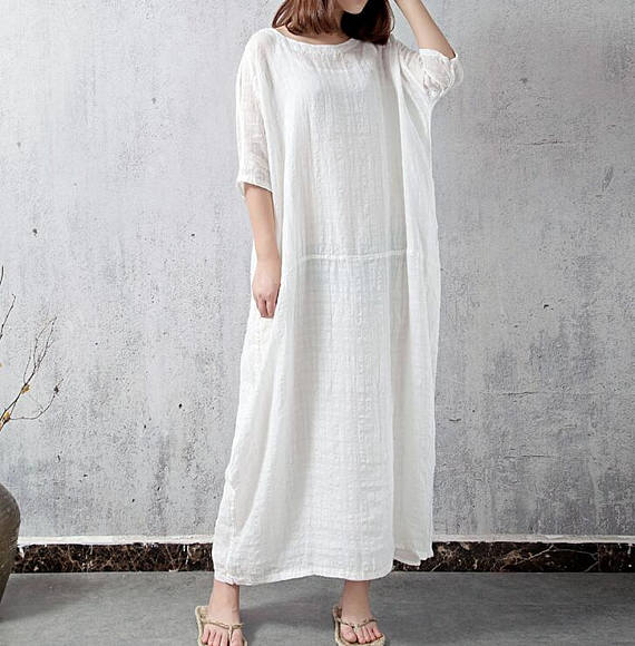 White Oversize long dress Large size robes dress Pink linen