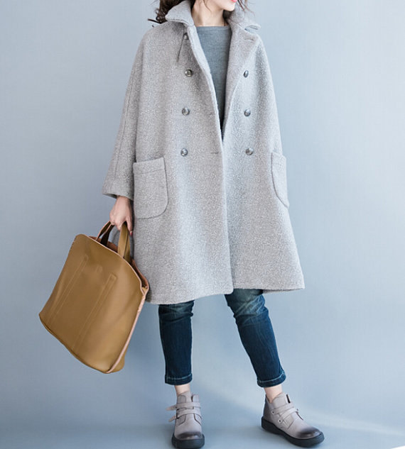Women winter Clothing oversized loose double breasted by MaLieb