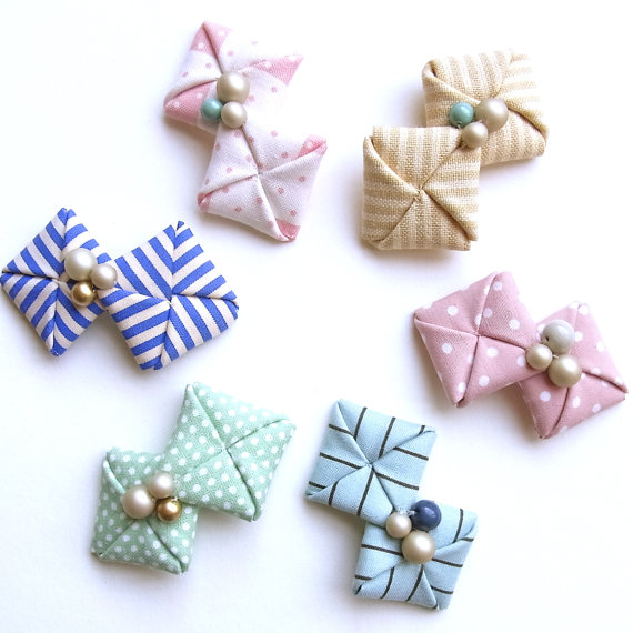 Kid Friendly Fabric Origami Hair Clips by HOMAKO on Etsy
