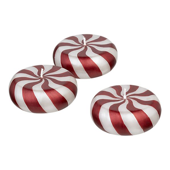 Set of 3 Peppermint Floating Candles in Candles | Crate&Barrel