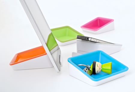 BlueLounge Nest iPad stand doubles as a storage tray | By AskAlexia