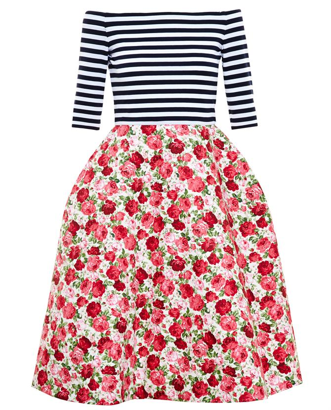 NATASHA ZINKO | Striped Dress with Floral Bell Skirt | Browns fashion & designer clothes & clothing