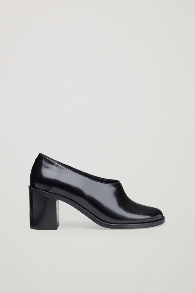 Chunky leather heels - Black - Shoes - COS GB