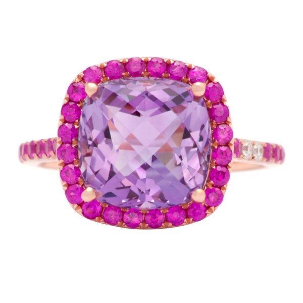 pink / Pretty pink sapphire, amethyst and diamond ring