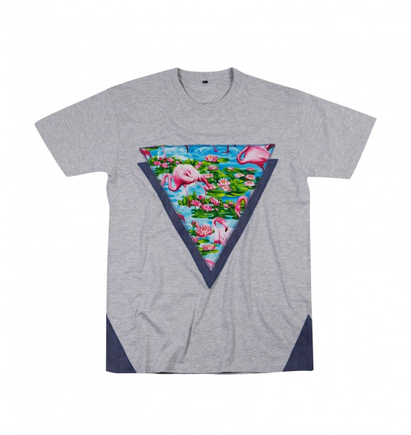 Printed embroided tee - Flamingo - SMILING PARIS | Discover at GRAFITEE