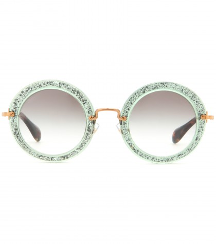 mytheresa.com - Round-frame glitter sunglasses - Sunglasses - Accessories - Luxury Fashion for Women / Designer clothing, shoes, bags