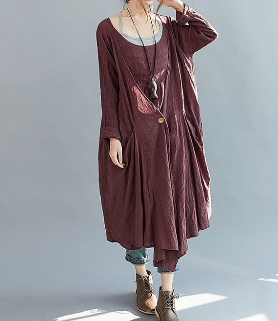 Loose Fitting long dark red dress by MaLieb on Etsy