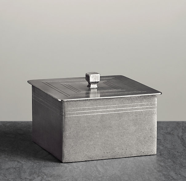 Apothecary Pewter Accessories - Rectangle Box | Countertop | Restoration Hardware