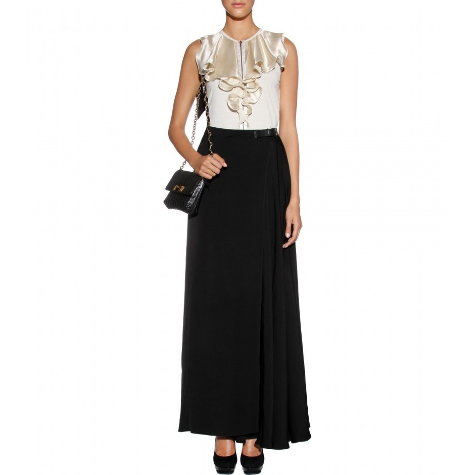 mytheresa.com - Lanvin - SILK TOP WITH VOLANT DETAILS - Luxury Fashion for Women / Designer clothing, shoes, bags