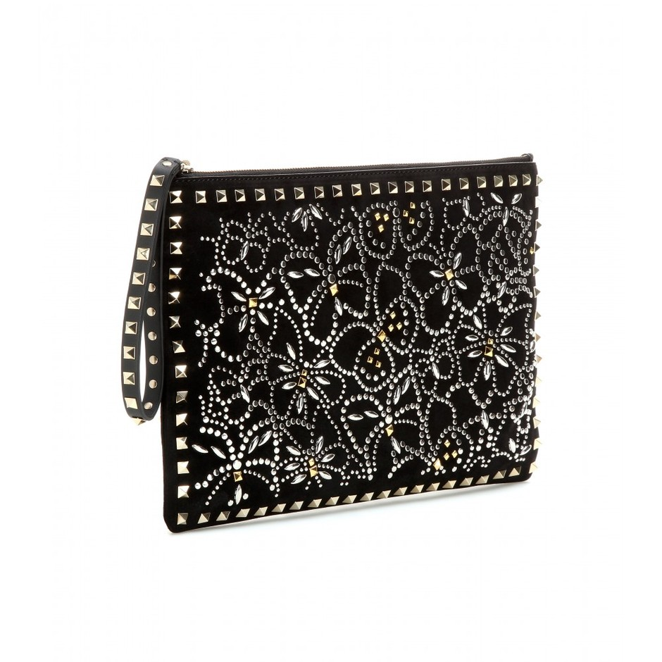 mytheresa.com - Rockstud Multi Studs embellished suede clutch - Clutch bags - Bags - Valentino - Luxury Fashion for Women / Designer clothing, shoes, bags