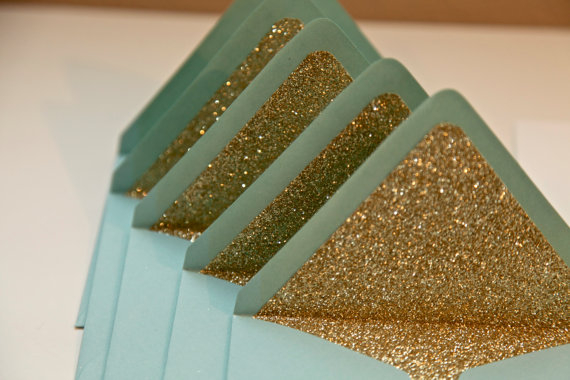 Gold Glitter envelope liners by PersianLaundry on Etsy