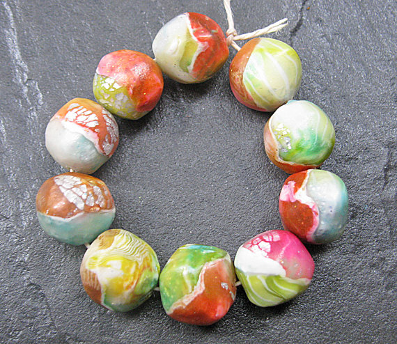 Set Of 10 Handmade Clay Nugget Beads Pink Green Blue Yellow Silver White Faux Glass Gemstone on Luulla