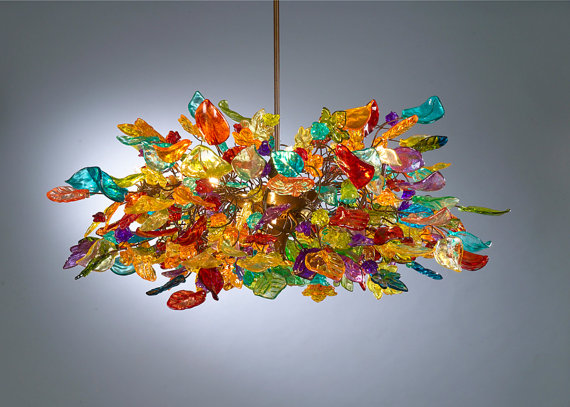 Hanging chandeliers Colorful flowers by Flowersinlight on Etsy
