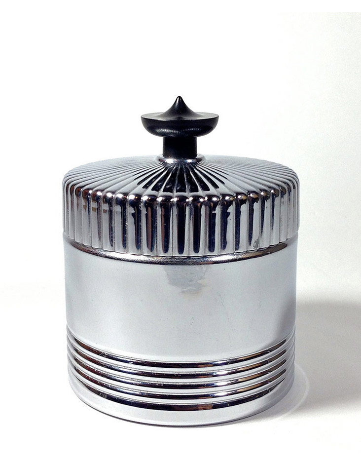 Table&Desk - 1930's Art Deco 【BLACK × SILVER】Lidded Jar / Container - FUNNY SUPPLY □ Antiques ■ - FUNNY SUPPLY