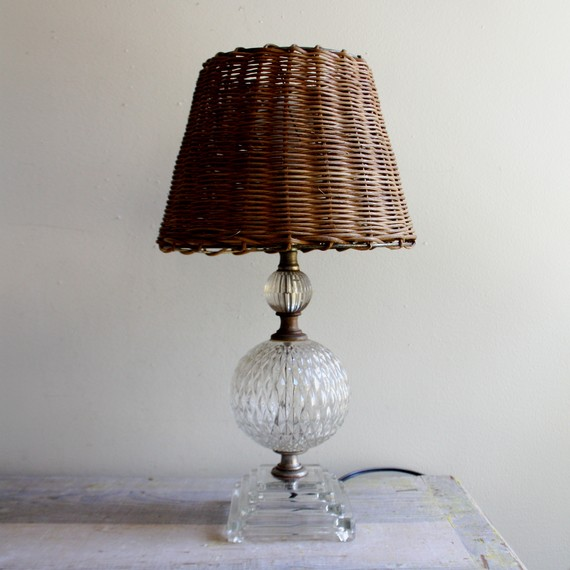 Etsy の Vintage Glass Lamp and Wicker Shade by ethanollie