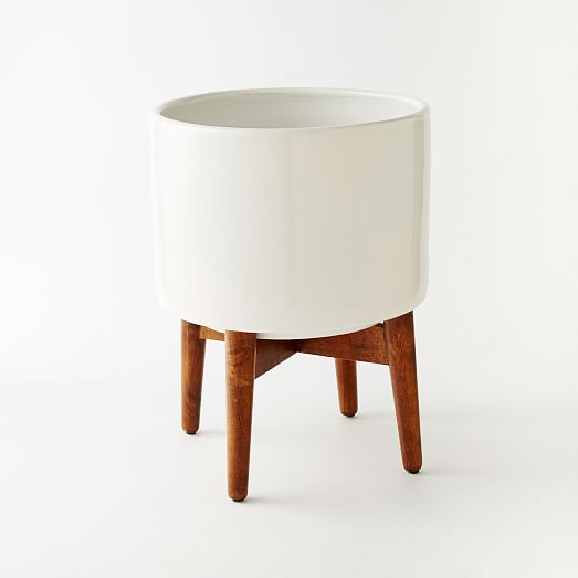 Mid-Century Turned Leg Standing Planters - Solid | west elm