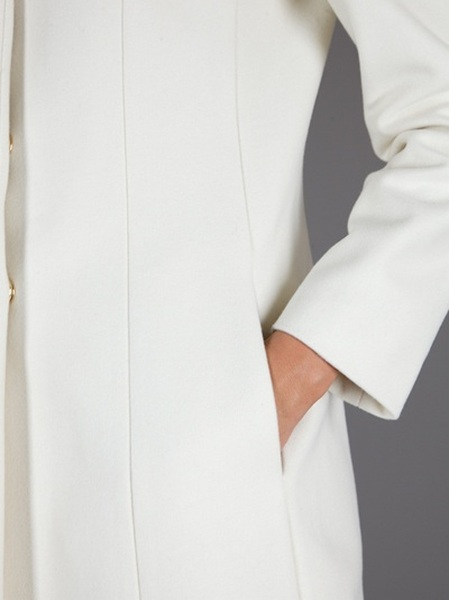 Love Moschino Bow Detail Coat in White | Lyst