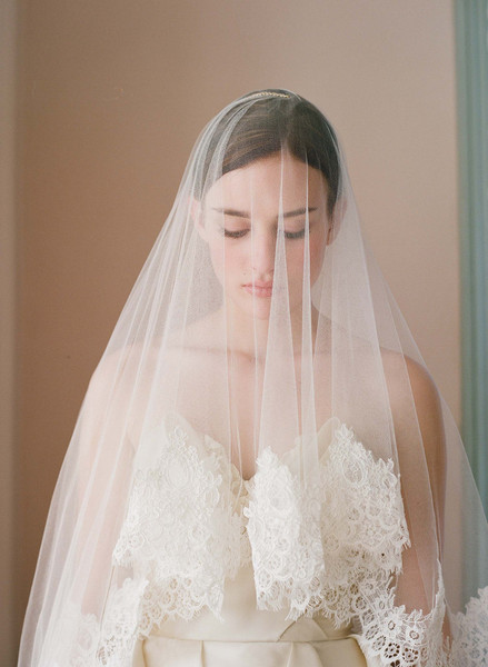 Silk tulle alencon lace trim veil - Style # 222 | Veils | Twigs & Honey ®, LLC