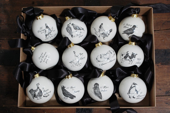 Ceramic Christmas Ornament Set of 12 The Twelve by EmilouMakes