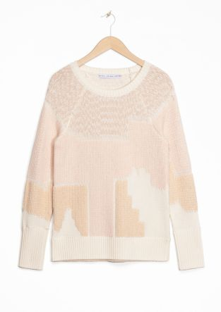 & Other Stories | Urban Landscape Jacquard Sweater | Blue
