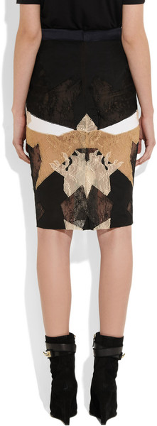 Givenchy|Black, white and beige patchwork lace skirt |NET-A-PORTER.COM