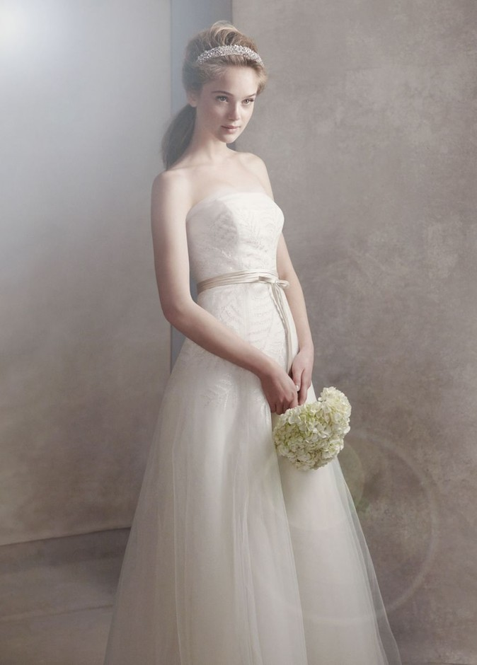 Organza Gown with Fern Embroidery and Net Overlay - David's Bridal