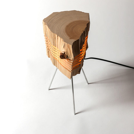 Reclaimed Wood Light Sculpture // Tripod - Split Grain - Touch of Modern