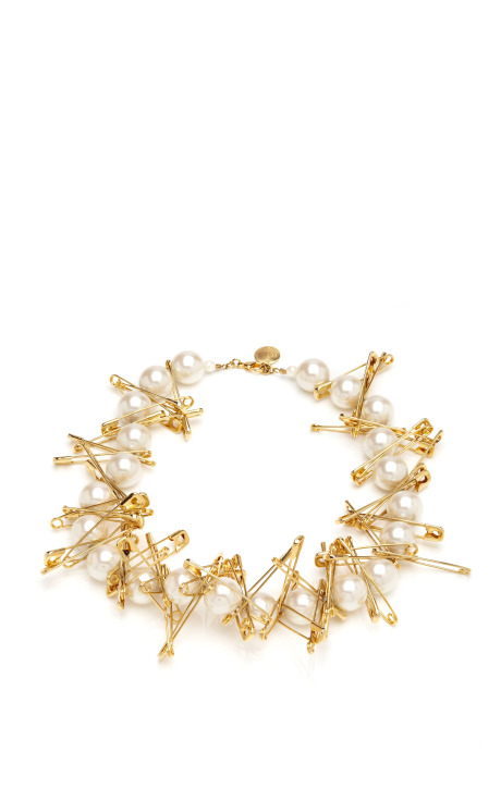 Large Single Strand Of Pearls Necklace With Large Safety Pins by Tom Binns Now Available on Moda Operandi