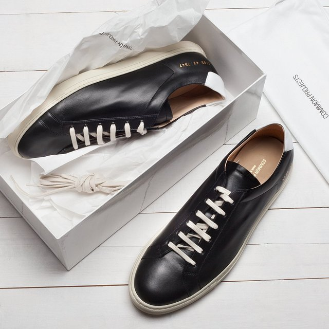 Fancy - Black / White Retro Leather Achilles Low Sneakers by Common Projects