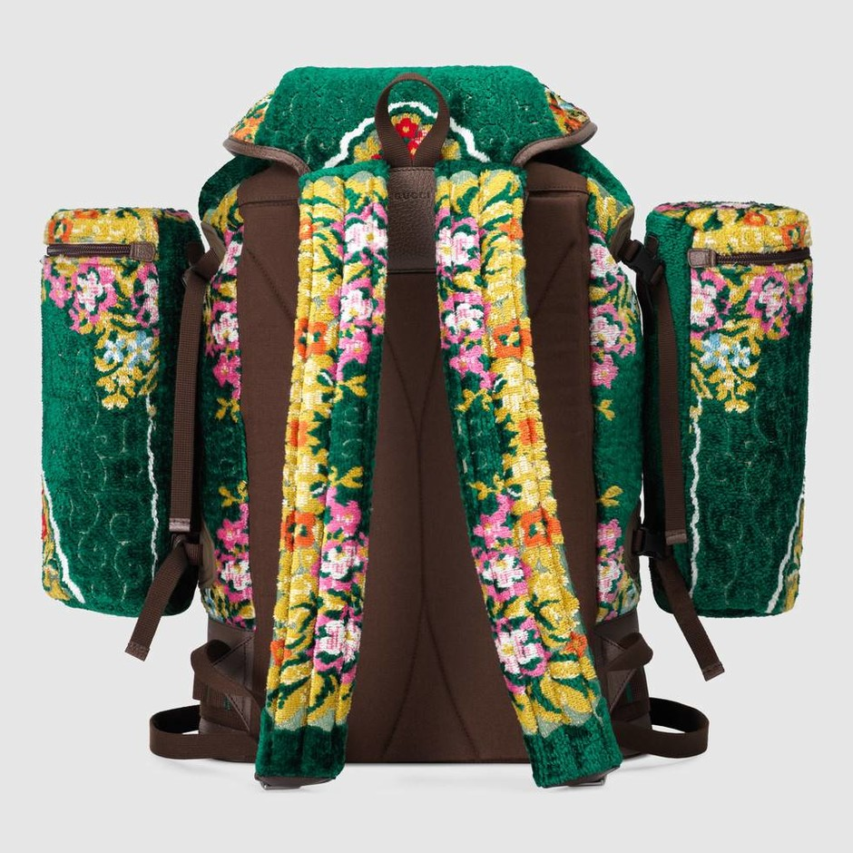 Large backpack in Green floral velvet lurex jacquard with brown leather trim | Gucci Men's Backpacks