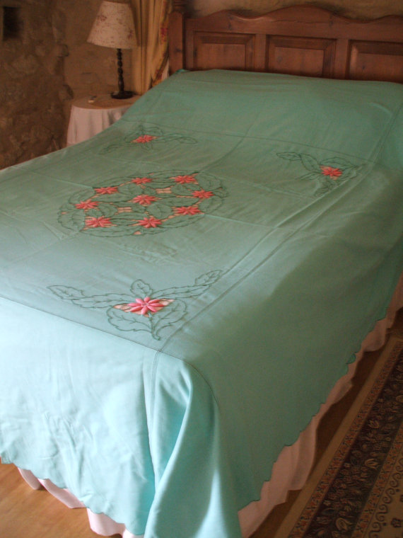 ANTIQUE FRENCH LINEN bed cover hand by vintagefrenchstyle on Etsy