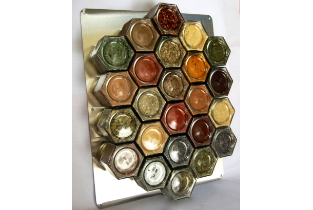 Honeycomb Magnetic Spice Rack for Wall Set of 24 by GneissSpice