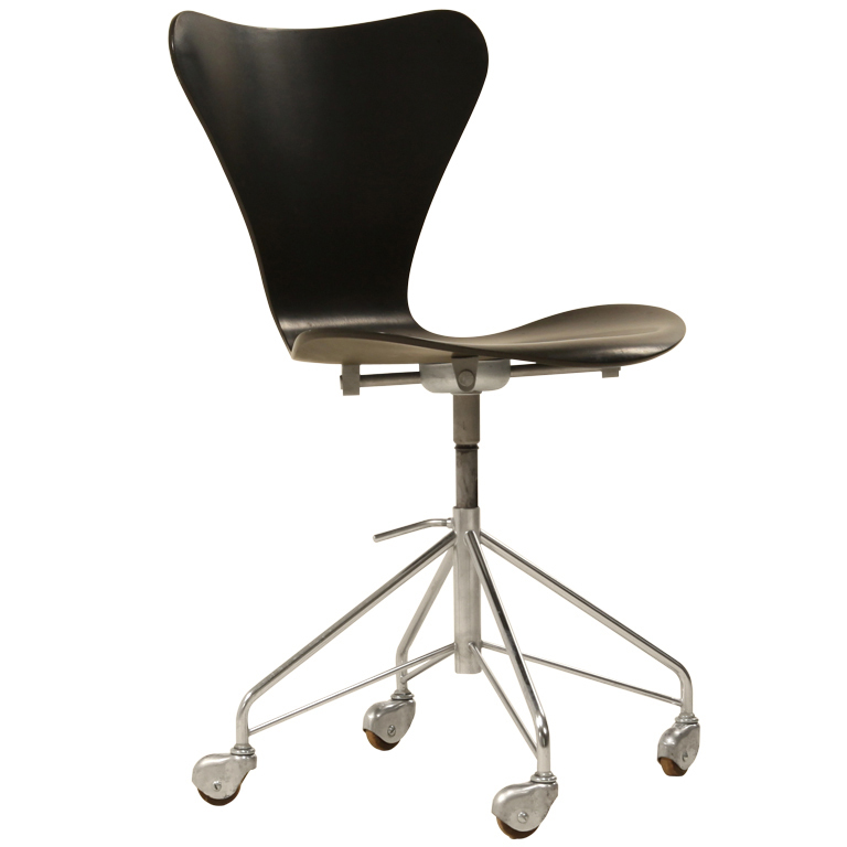 Early Arne Jacobsen height adjustable desk chair on wheels at 1stdibs