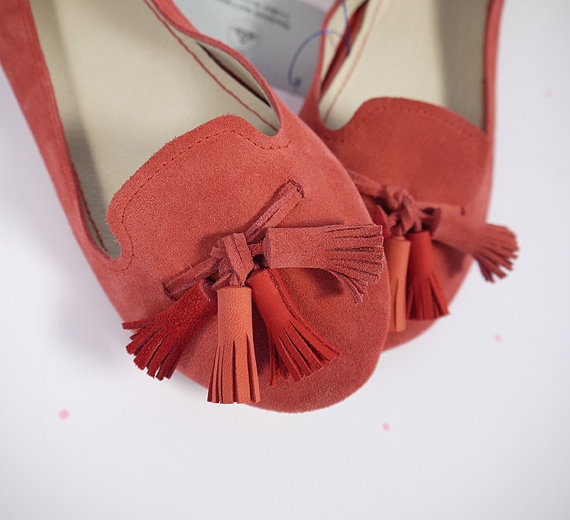 The Loafers Shoes in Geranium Red Suede and by elehandmade on Etsy