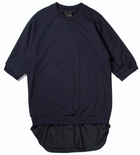 3.1 Phillip Lim Navy S/S Pullover with Poplin Shirt Tail | Hypebeast Store
