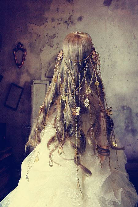 Golden butterflies and beads. | Hair Styles | Pinterest