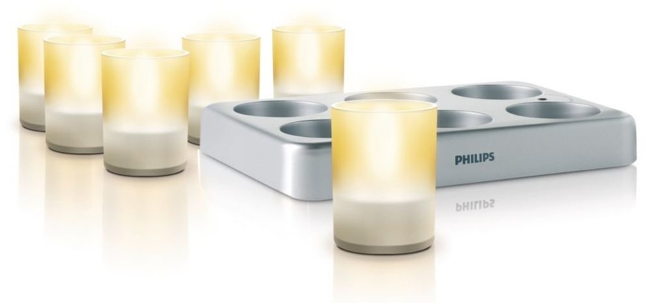 Philips 69126/60/48 Imageo LED Rechargeable Tea Lights with Charging Plate, Clear - Amazon.com