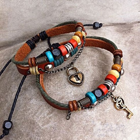 Product - Handmade Couple Leather Bracelets- Key To My Heart by Julyjoy · Storenvy