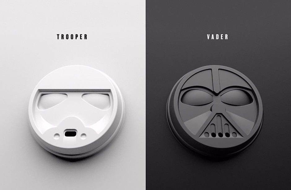 Design MilkさんはInstagramを利用しています:「Wishing these awesome #StarWars coffee cup lids were real! On a related note, who else is excited for Episode VII to come out? \\\ Brand packaging design by Addition Design (@spencedvs).」