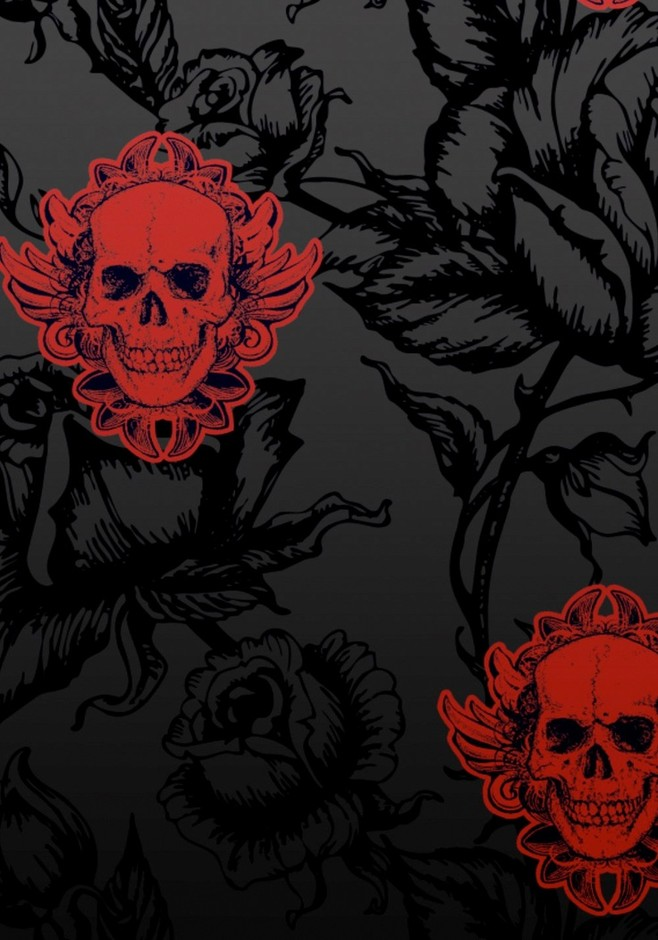 Large Winged Skull Black Red Wallpaper by Jilted Generation ... | Bar…