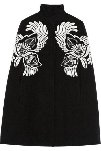 Stella McCartney | Floral-embroidered wool cape | NET-A-PORTER.COM