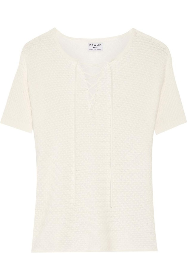 Frame | Le Crochet lace-up knitted modal and cotton-blend top | NET-A-PORTER.COM