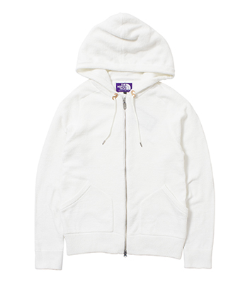 Knit Pile Zip Up Parka white