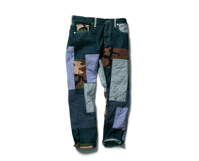 SOPHNET. | PRODUCT | SLIM-FIT ANKLE CUT REPAIR JEANS (FABRIC MIX)