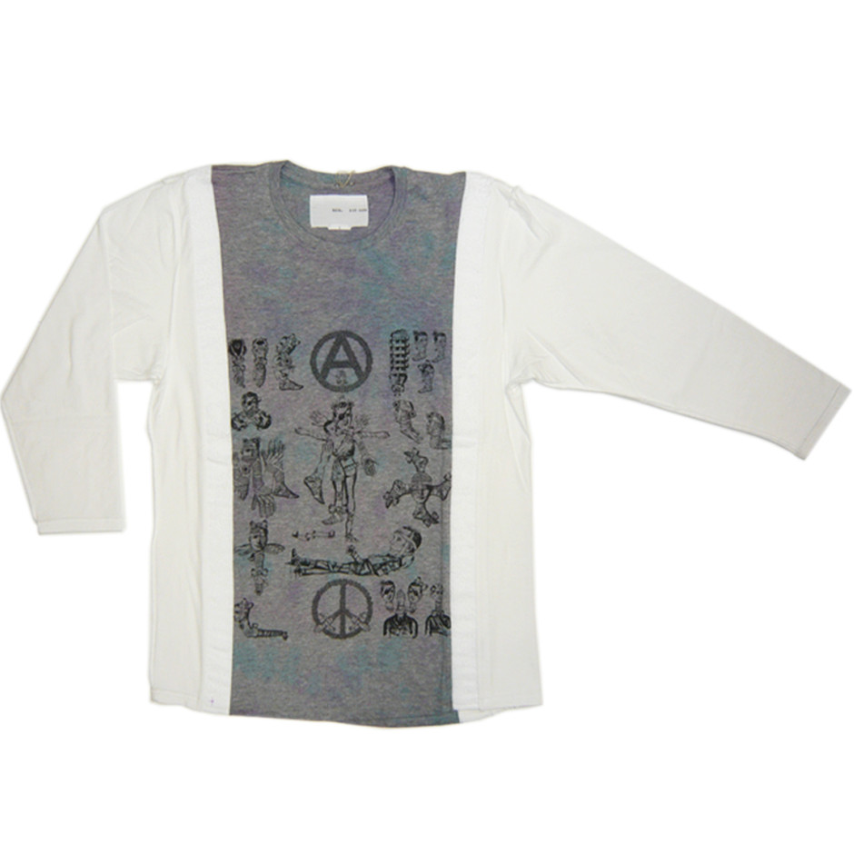 Re-size Collage print L/S Tee col.Wht