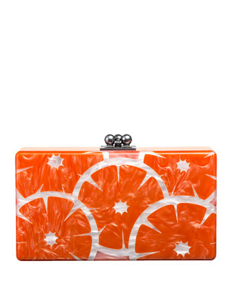 Edie Parker Jean Orange Slice Acrylic Clutch Bag