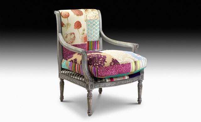 Patchwork Dining Chair - Olio patchwork fabric