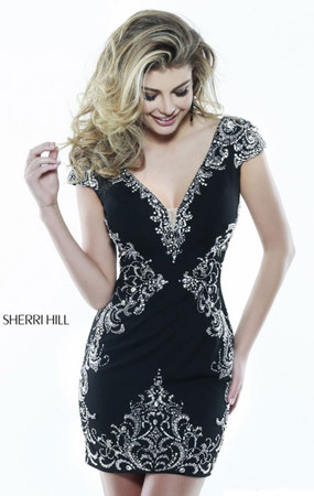 Black/Silver Sherri Hill 32031 Beaded V-Neck Fitted Homecoming Dress Outlet