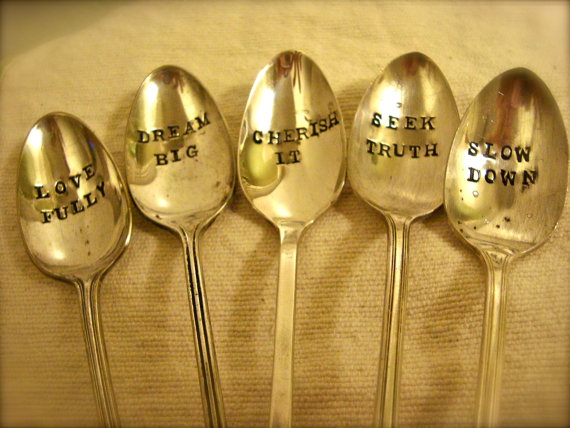 Vintage Letter Hand Stamped Stirring Spoons by ForSuchATimeDesigns