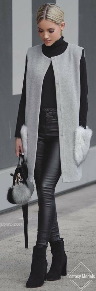 (51) Vest, knee length best, I want my style, winter wear, Grey Vibes // Fashion Look by Shanda Rogers | Fashion Junkie | Pinterest